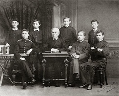 Zverev's students in the late 1880s. Scriabin, with military attire, is second from the left. Rachmaninoff is the fourth from the right.