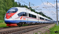 The high-speed Sapsan train links Moscow with Saint Petersburg