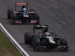 Petrov at the German Grand Prix showing that the car could regularly fight for position with the Toro Rossos.