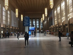 The art déco interior of the grand concourse at the 30th Street Station in Philadelphia