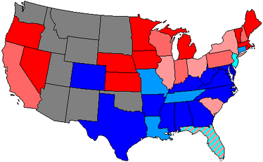 House seats by party holding plurality in state     80.1-100% Democratic    80.1-100% Republican     60.1-80% Democratic    60.1-80% Republican     Up to 60% Democratic    Up to 60% Republican