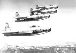 78th Fighter Group, Jet Republic F-84B Thunderjets at Hamilton AFB, 1949.  Aircraft are (bottom to top) Republic F-84D-10-RE Thunderjet 48-678, 667, 680, 657