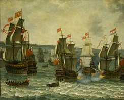 This painting, Action between ships in the First Dutch War, 1652–1654 by Abraham Willaerts, may depict the Battle of the Kentish Knock. It is a pastiche of popular subjects of naval painting of the time: on the right Brederode duels Resolution; on the left the enormous Sovereign.