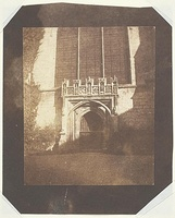 Ancient Door, Magdalen College, Oxford by Henry Fox Talbot, circa 1843, showing the western door to the chapel beneath the window depicting the Last Judgment.