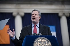De Blasio speaking at his January 2010 inauguration as New York City Public Advocate