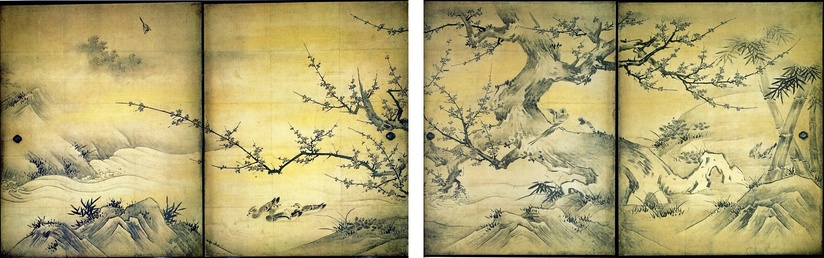 Four from a set of sixteen sliding room partitions made for a 16th-century Japanese abbot. Typically for later Japanese landscapes, the main focus is on a feature in the foreground.