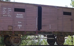"The Holocaust ""Güterwagen"" wagon holding an average of 100 victims, occupied Poland"