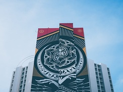 A large mural by artist Shepard Fairey is seen in the Arts District.