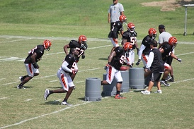The Bengals defense during training camp in August 2010