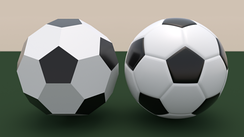 On the left is shape consisting of perfectly flat pentagons and hexagons. The hexagons are coloured white; the pentagons black. On the right is a football; it is of the same basic design, but the pentagons and hexagons are curved to form a smoother sphere.