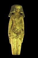 Ushabti of a Concubine; nude except for jewellery and a heavy wig. Painted wood, Middle Kingdom of Egypt
