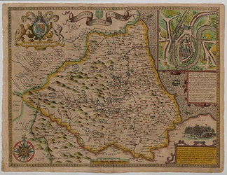 Barwick shown on The Bishoprice and Citie of Durham map, circa 1611 by John Speed, just south of the Tees between Yarum and Thornabye in Yorkshire