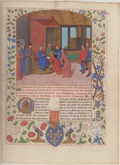Edmund surrenders to Charles VII at Rouen in 1449. Illuminated page from the Anciennes chroniques d'Angleterre, Jean de Wavrin.[4]