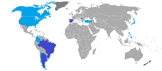 World map depicting the number of times a country has hosted the World Cup. Dark blue: twice; light blue: once.