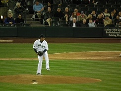 Hernández pitching at Safeco Field, April 2011