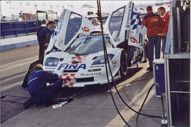The BMW Motorsport entry during the 1997 FIA GT Donington 4 Hours race.