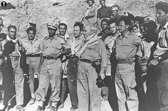 David Ben-Gurion with Yigal Allon and Yitzhak Rabin in the Negev, during the 1948 Arab–Israeli War.
