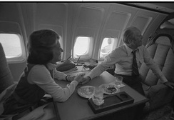 President Ford with his wife Betty aboard the return flight to Washington DC from San Francisco later on the same day as the assassination attempt