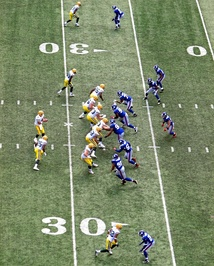 The NFL Green Bay Packers in the shotgun formation against the New York Giants on September 16, 2007.