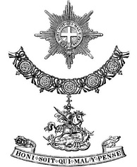 "Top: A Garter ""Star""; middle: A ""Great George"" (St George on horseback slaying the dragon) pendant from the Collar; bottom: the Garter"