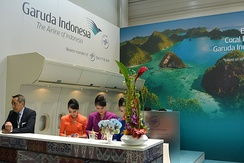Three female Garuda Indonesia employees (centre) pictured at the ITB Berlin tourism trade fair. The proportion of senior business roles held by women in Indonesia is 46%, the highest in ASEAN and well above the level of countries such as Brazil (19%), Germany (18%), India (17%) and Japan (7%).[91]