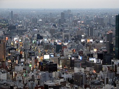 Greater Tokyo Area, Japan, the world's most populated urban area, with about 38 million inhabitants.