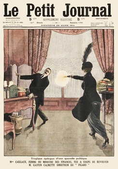 "Cover of ""Le Petit Journal"" illustrating the assassination of Gaston Calmette, the editor of ""Le Figaro"""