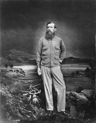 John Hanning Speke c. 1863. Speke was the Victorian explorer who first reached Lake Victoria in 1858, returning to establish it as the source of the Nile by 1862.[62]