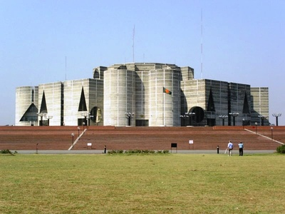 The National Parliament Building in Dhaka, Bangladesh (1962–74)