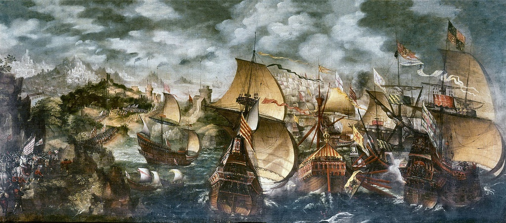 Elizabeth I and the Spanish Armada; the Apothecaries painting,[73] sometimes attributed to Nicholas Hilliard.[74] A stylised depiction of key elements of the Armada story: the alarm beacons, Queen Elizabeth at Tilbury, and the sea battle at Gravelines.[75]