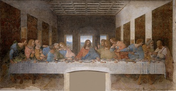 The Last Supper by Leonardo da Vinci, 1498, depicts Jesus and the apostles sitting at a long table. This kind of table was unknown at the time and place of the Last Supper.[1]