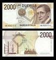 2000 lire – obverse and reverse – printed in 1990