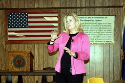 Liz Cheney campaigning for the U.S. Senate in Buffalo, Wyoming