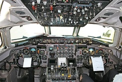 Flight deck of a Viking Airlines MD-83