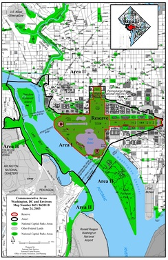 National Park Service map showing the National Mall's designated reserve area referenced in the 2003 Commemorative Works Clarification and Revision Act