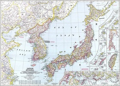 The Japanese archipelago and the Korean Peninsula in 1945 (National Geographic)