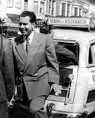 "Nixon on his ""station wagon tour"" in Sausalito, California, 1950"