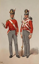 Officer and soldier of the British Army, 1815.