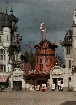 The Moulin Rouge in Autochrome Lumière color, 1914, before the 1915 fire