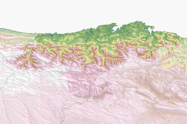 Topographical map of Cantabria.