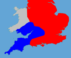 A colour-coded map of England showing the political factions in 1140