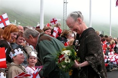 Queen Margrethe II, monarch of the Unity of the Realm, during a visit to Vágur in 2005