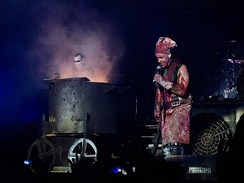 "Rammstein performing ""Mein Teil"" in 2013, one of the tracks from Reise, Reise. The track is based on the events of The Meiwes Case."