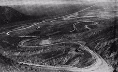 View of the Grapevine loops looking north toward the San Joaquin Valley c. 1920, before the Ridge Route Alternate was built off to the left