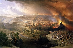 Siege and Destruction of Jerusalem by the Romans (1850 painting by David Roberts). Looking southwest