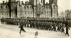 The Royal 22nd Regiment parading on Parliament Hill in Ottawa in 1927