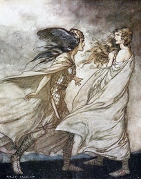 Brünnhilde is visited by her Valkyrie sister Waltraute (Arthur Rackham, 1912)