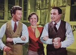 Donald O'Connor, Debbie Reynolds, and Gene Kelly from a lobby card for Singin' in the Rain