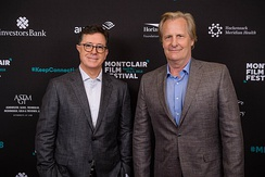 Stephen Colbert with Daniels at the Montclair Film Festival in 2018