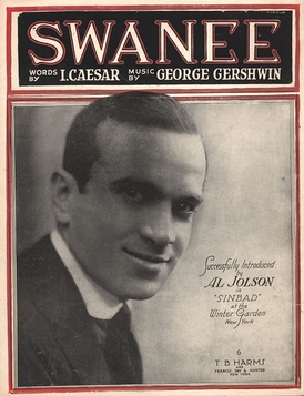 "1919 ""Swanee"" sheet music with Jolson on the cover. For the full sheet music, see Wikisource."